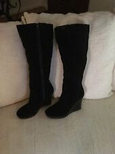 Nine West Platform Boot In Beautiful Rich Black Suede Sz8
