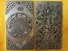 Chinese Old Ssangyong longevity tibet Silver Bullion thanka amulet 135 g
