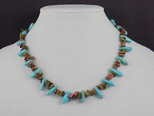 new TURQUOISE / br. stone NECKLACE claw CLASP collectible JEWELRY PENDENTS GIFT