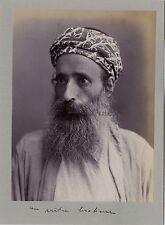 Portrait d'un Musulman Inde Asie Pakistan Vintage citrate ca 1900