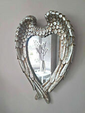 Large Antique Silver Angel Wings Mirror Shabby Chic Heart Ornate Wall Vanity