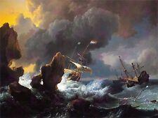 PAINTING  BAKHUIZEN SHIPS DISTRESS ROCKY COAST LARGE ART PRINT POSTER LF1650