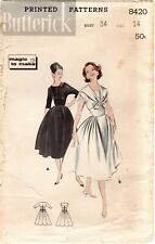 Vintage 1950s Butterick 8420 Fitted Midriff Dress Pattern Size 14 Bust 34