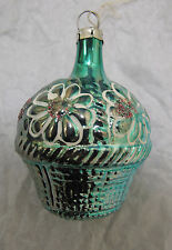 Russian Soviet Christmas Tree Glass Ornament Basket of Flowers Green Корзинка
