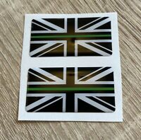 Union Jack Thin Green Line 3D Gel Domed Sticker Flag Domed Decal 50x25mm x2