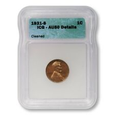 USA Lincoln Wheat Cent 1c 1931 S ICG AU50 Details Cleaned Key Date Penny