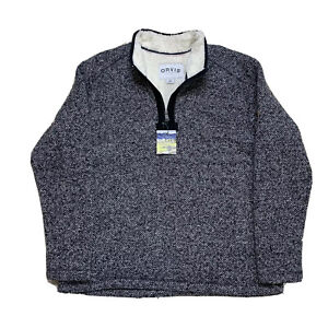 New XL Orvis Grey Knit Heavy Sherpa Fleece Lined 1/4 Zip Sweater