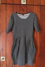 River Island ASOS Black & White Work Dress Size 12 Tulip Skirt Pockets VGUC