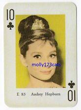 Swedish Film Star Playing Trade Card Audrey Hepburn 10 of clubs