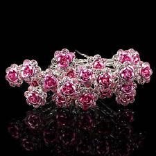 20PCS Horquilla De Pelo Cristal Nupcial Diamante Rose Flor Clip Pinza Cabello