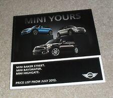 Mini Cooper Baker Street Bayswater Highgate Price Guide Brochure 2012