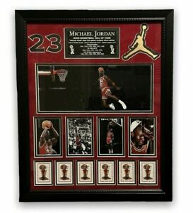 Michael Jordan Collage Custom Framed to 16x20 w/ Patches & Plaque Chicago Bulls
