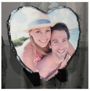 Personalised Natural Heart Rock Slate Any Custom Photo Gift With Free Stands