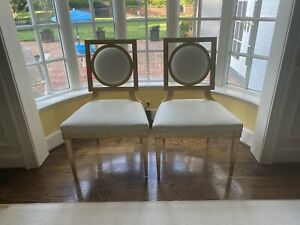 Thomas Pheasant for Baker Furniture Gold Chairs, a pair