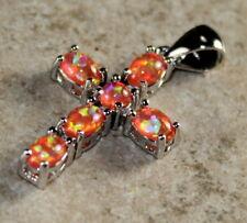 SILVER Elegant Orange Fire Opal Cross Pendant Woman Gift