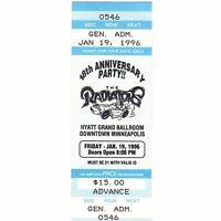 THE RADIATORS Concert Ticket Stub MINNEAPOLIS MN 1/19/96 HYATT Rare Mail Order