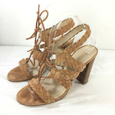 BCBGeneration BCBG 7 Tan Brown suede braided high heel sandals lace up strappy
