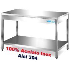 Tavolo In Acciaio Inox 100% AISI 304 cm 80x60x85/90h Gastronomia Professionale