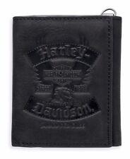 Harley-Davidson Mens Distressed Eagle Black Leather Trifold Wallet 97830-17VM