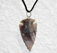 "One Hand Knapped  Agate Arrowhead on a  20"" 2mm Leather Necklace Cord"