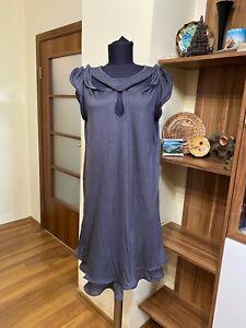 TSUMORI CHISATO GREY STRETCH JERSEY RAYON/WOOL LAYERED A-LINE DRESS-II