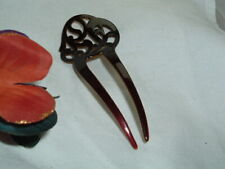 Vintage Spanish Hair Comb Chocolate Celluloid Made in France by DCNL