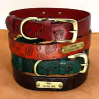 Leather Dog Collar for Small Medium Large Dogs Adjustable Custom ID Name Collar