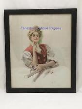 Framed Antique Harrison Fisher Print THE TENNIS CHAMPION Scribner's 1907