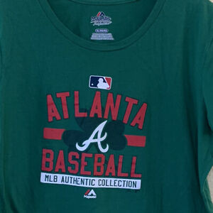 Atlanta Braves MLB MAJESTIC T-Shirt Shamrock St Patricks Irish Green Women's XL