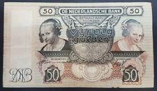 1941 Netherlands De Nederlandsche Bank 50 Gulden Banknote 17 March Amsterdam