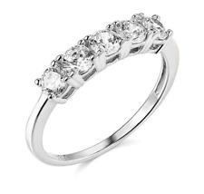 5-Stone Anniversary Wedding Engagement Band Ring 2 Ct Round Real 14k White Gold