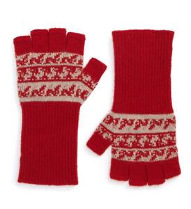NWT Burberry Fair Isle Cashmere & Wool Fingerless Gloves Unisex Red
