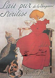Kunstkarte: Steinlen - Werbeplakat für Milch / Mädchen mit Katzen