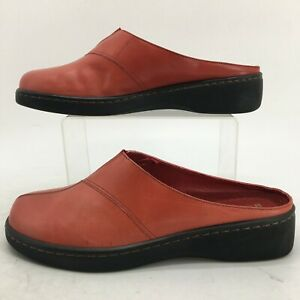 Naturalizer Mardi Mule Comfort Shoes Womens 8.5 WW Red Leather Casual Slip On