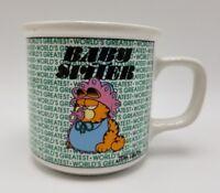 Garfield Coffee Mug Cup Worlds Greatest Baby Sitter Jim Davis Enesco Rare 1978