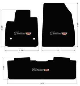 NEW! BLACK Carpet Floor Mats 2017 - 2020 Cadillac XT5 Embroidered Logo On All 3