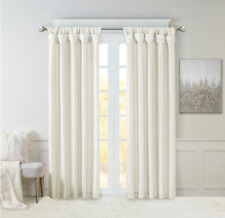 White Solid Tab Top Room Darkening Curtain - 50 in. W x 108 in. L