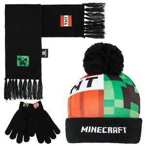 Minecraft Hat Scarf And Gloves Set Boys, Gaming Gifts For Boys