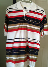 Gentleman's Club Polo Shirt Size M White Red Blue Sleeves Stripes NWOT