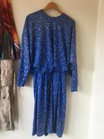 vintage Blue Sequence Dress Sz 12 1980s