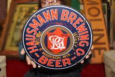 Hausmann Beer Brewing Co. Bar Tavern Gas Oil Porcelain Metal Sign