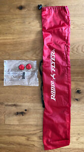 """RADIO FLYER WAGON PARTS 2 AXLE CAPS 0.50"""" NEW RED CAPS & BAG FOR CANOPY STORAGE"""