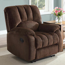 Recliner Chair Sofa with Pocketed Comfort Coils Brown Upholstered Seat Lounge