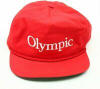 VTG Olympic Adjustable Strapback Trucker Hat Red Imperial Headwear USA