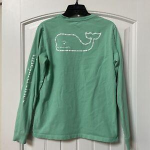 Youth Vineyard Vines Long Sleeve Pocket T Shirt Whale Green White Sz L (16)