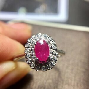 NATURAL REAL RUBY 925 STERLING SILVER RING, SIZE 5-11 & 1/2 US, FINE JEWELRY