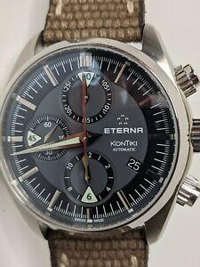 Eterna Kontiki Automatic Chronograph Watch Gray Dial 1241.41 42mm