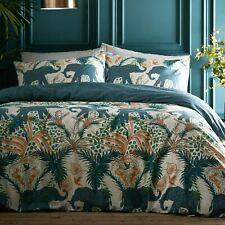 Portfolio Savannah Reversible Teal Elephant Safari King Duvet Cover Bed Set