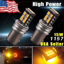 2x Amber/Yellow 1157 BAY15D High Power 15W Turn Signal Tail Brake LED Light Bulb