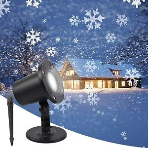Xmas Moving Snowflake Projector LED Light Up In / Outdoor Halloween Party Lamp